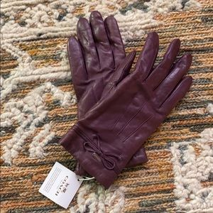 Coach leather gloves with bow detail